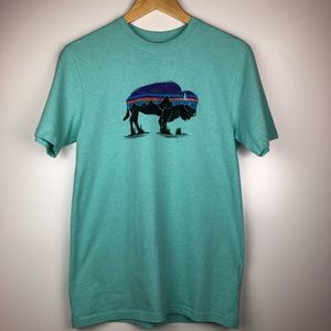 Tops - Patagonia Turquoise Tee w/ Buffalo, Size Small
